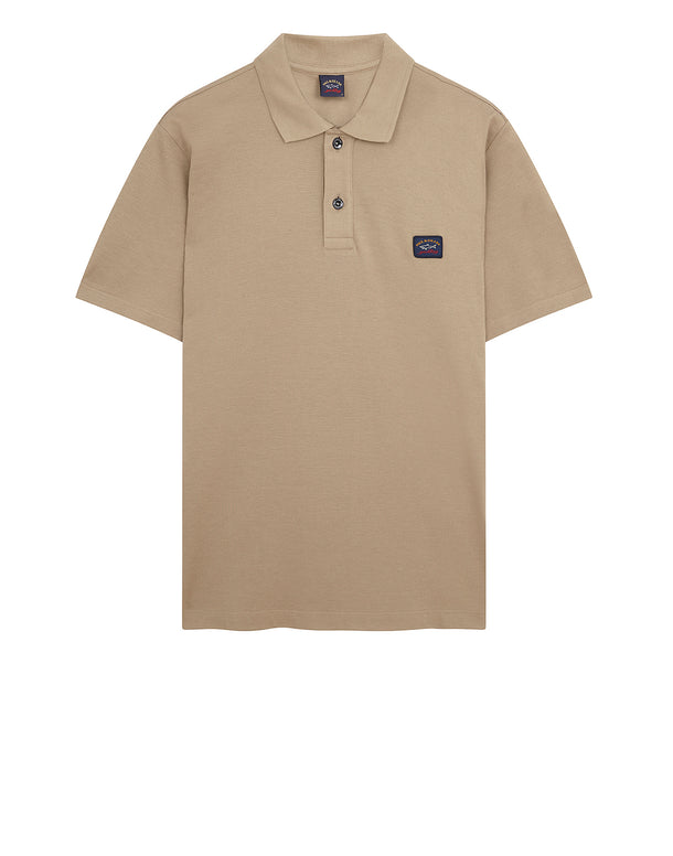 Cotton Polo Shirt With Chest Patch in Beige