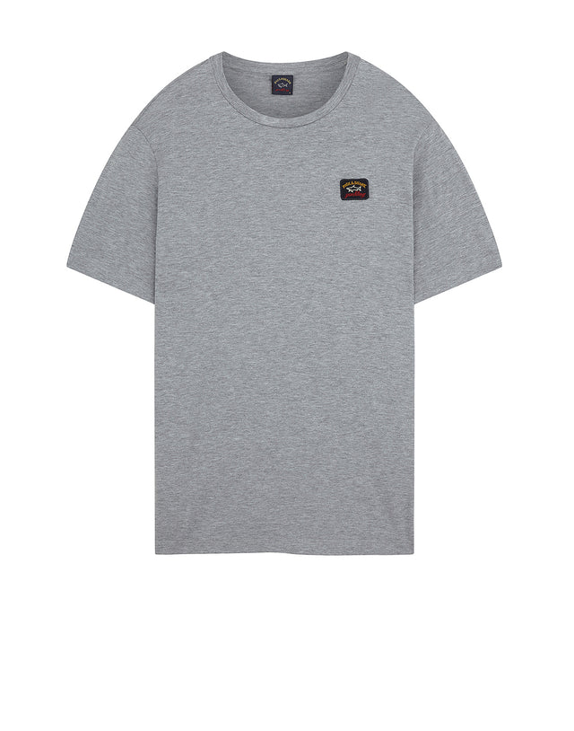Logo Patch Crew T-Shirt in Grey