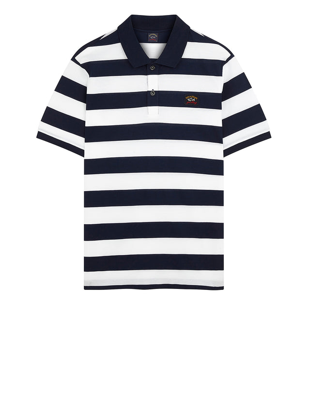 Stripe Polo With Chest Patch in Navy