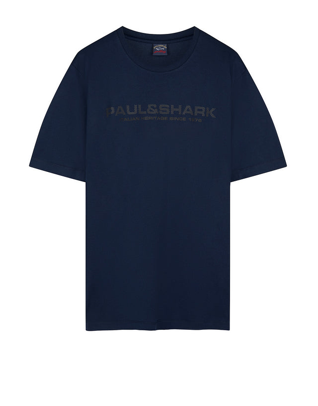 Short Sleeve Logo Tee Shirt in Navy