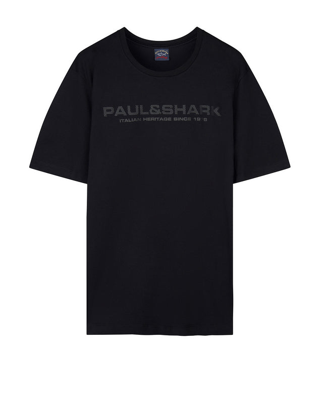 Short Sleeve Logo Tee Shirt in Black