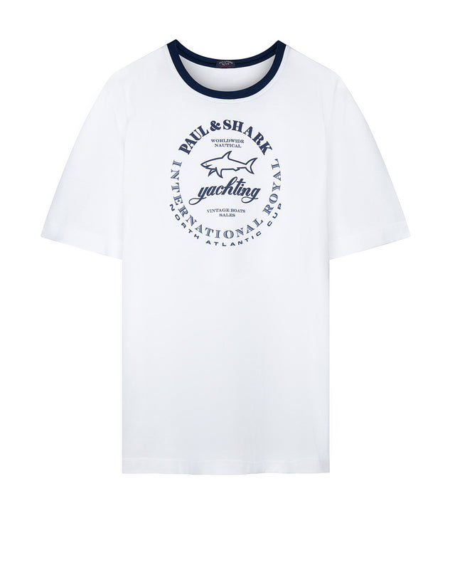 Short Sleeve Yachting Tee Shirt in White