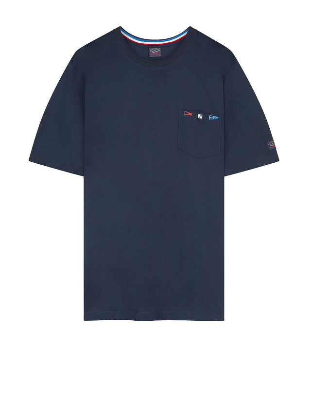 Short Sleeve Flag Pocket Tee Shirt in Navy