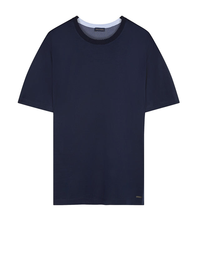 Short sleeve crew neck tee shirt in Navy