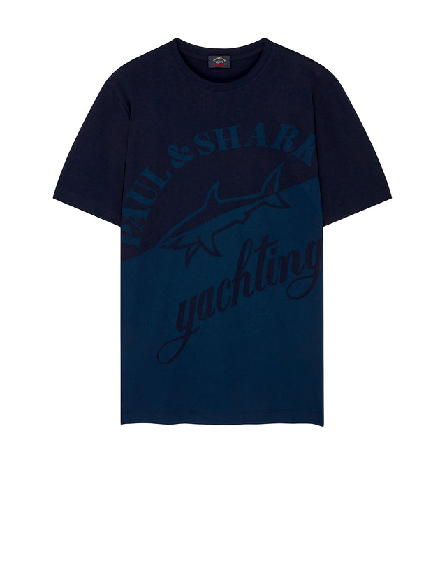Large Yachting Graphic Short Sleeve T-Shirt in Blue