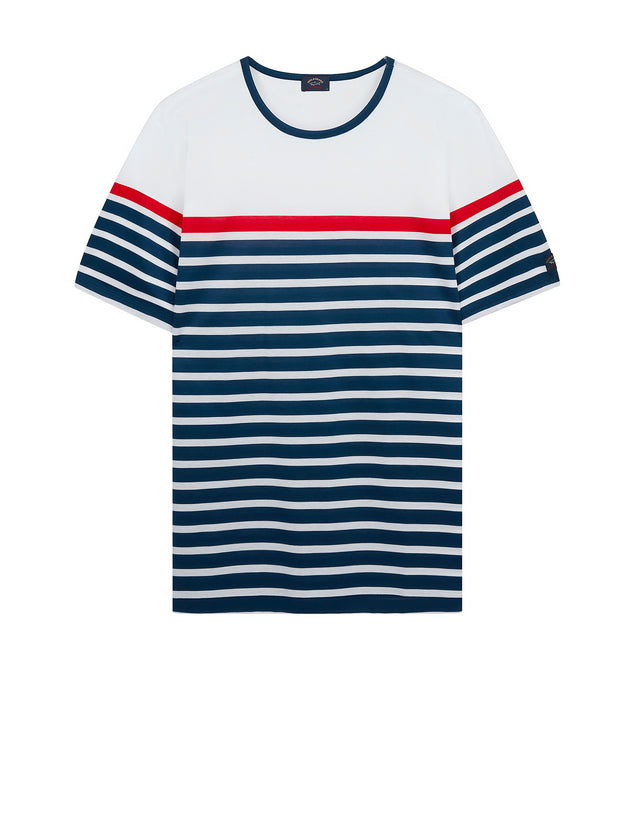 Short Sleeve Breton Stripe T-Shirt in White/Cadet Blue