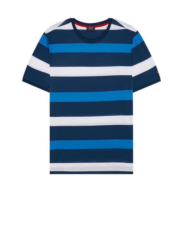 Short Sleeve Stripe T-Shirt in Cadet Blue