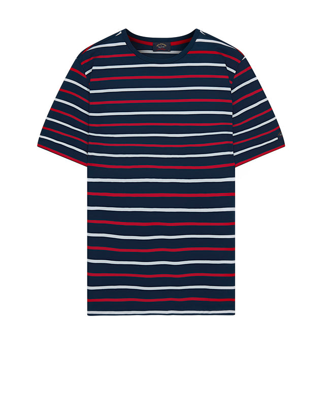 Short Sleeve Three Colour Stripe T-Shirt in Cadet Blue Stripe