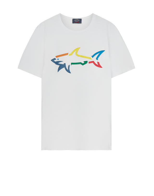 Rainbow Shark Tee in White