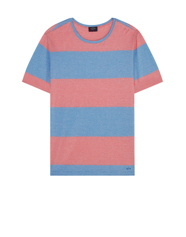 Short Sleeve Logo Hem T-Shirt in Coral