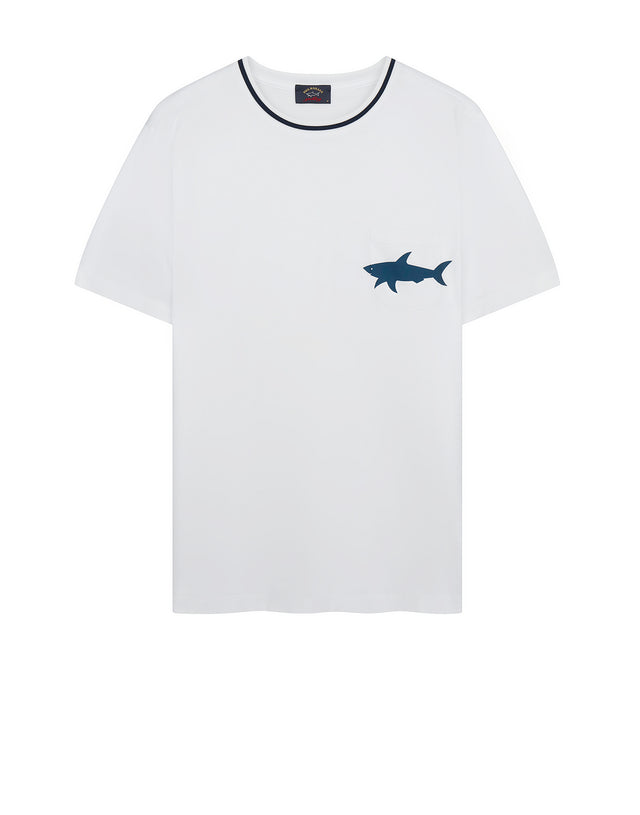 Short Sleeve Shark Pocket T-Shirt in White