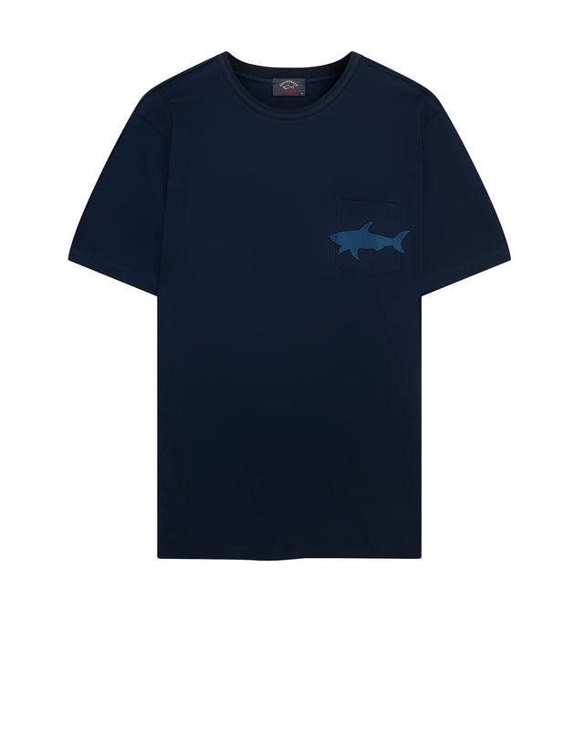 Short Sleeve Shark Pocket T-Shirt in Blue