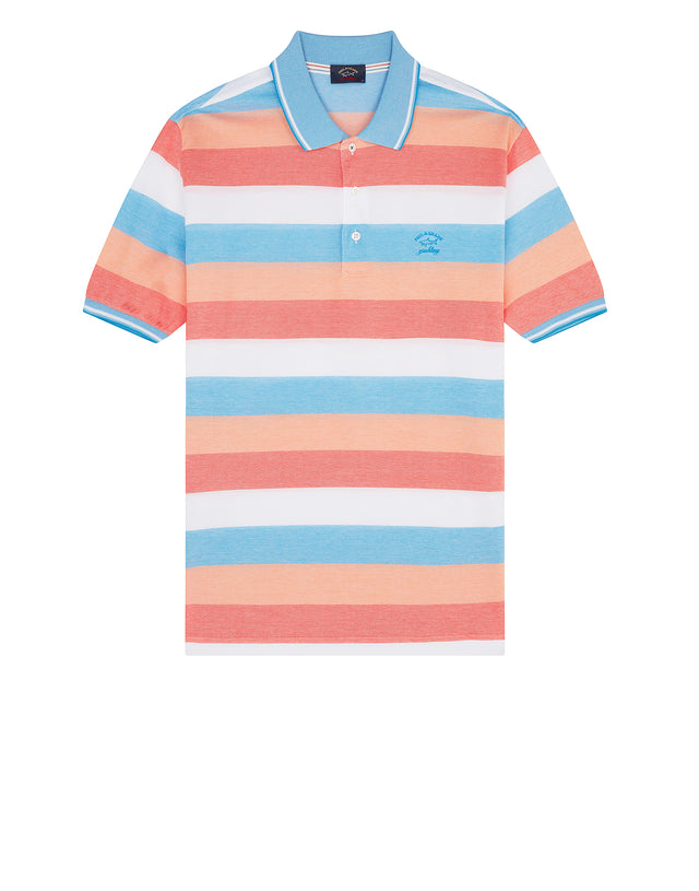 Yachting Embroidered Multi Stripe Polo Shirt in Orange