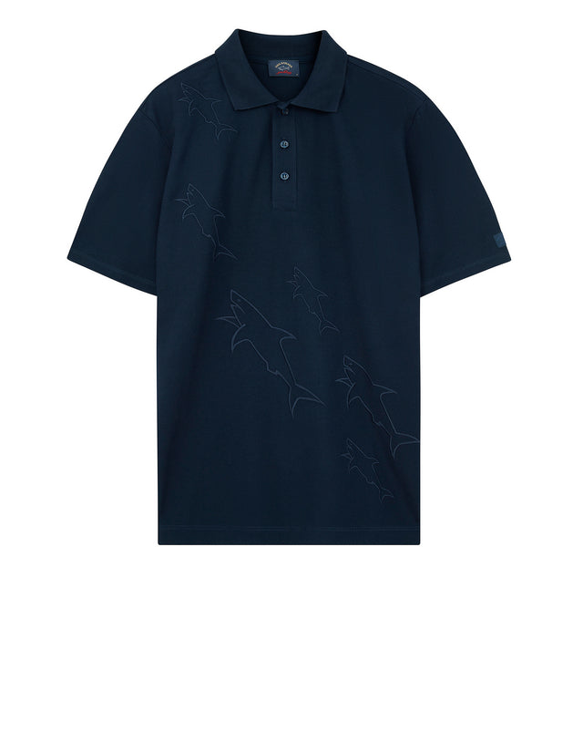 Sharks Embroidered Polo Shirt in Navy