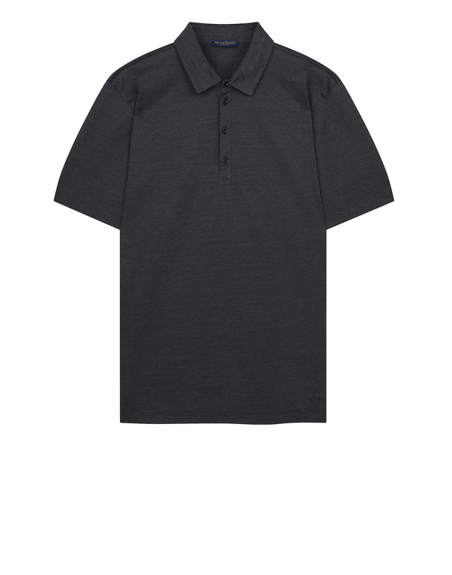 Heritage Shark Stripe Polo Shirt in Charcoal