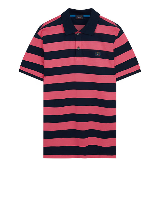 Stripe Polo Shirt With Chest Patch in Blue/Pink