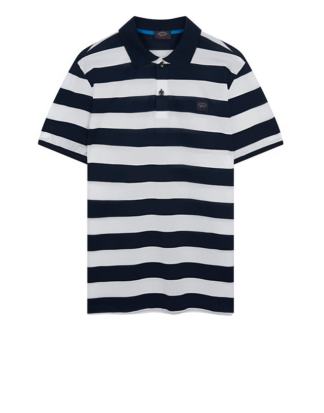 Stripe Polo Shirt With Chest Patch in Blue/White