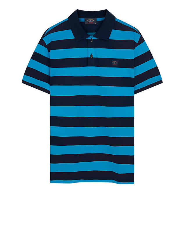 Stripe Polo Shirt With Chest Patch in Navy/Cadet