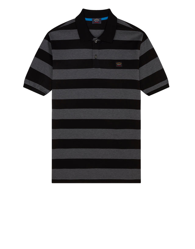 Stripe Polo Shirt With Chest Patch in Black