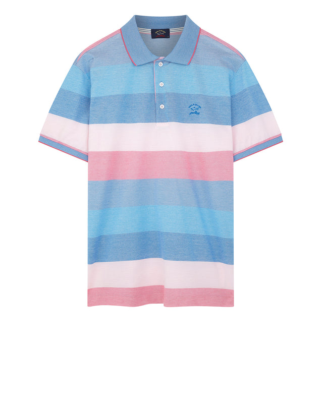 Striped Yachting Embroidered Polo Shirt Blue