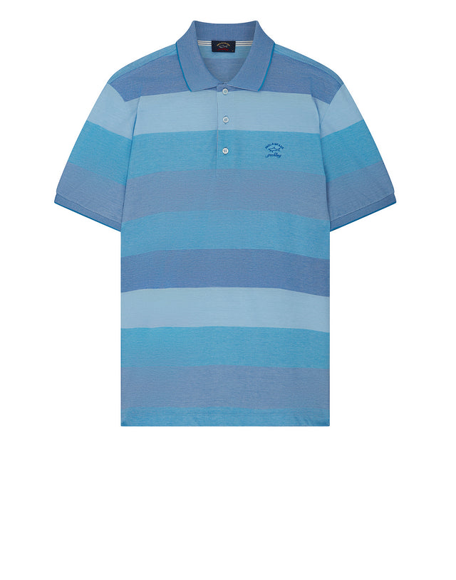 Striped Yachting Embroidered Polo Shirt in Cobalt Blue