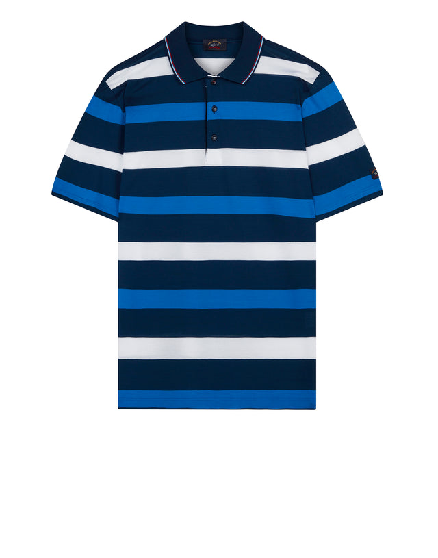 Three Stripe Polo Shirt in Blue