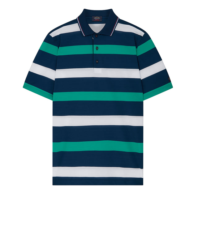 Short Sleeve Stripe Polo Shirt in Green/Blue