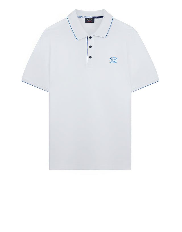 Yachting Embroidered Polo Shirt in White