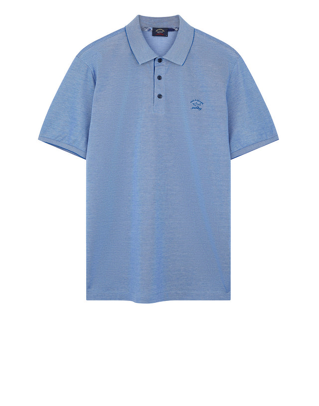 Plaid Collar Polo Shirt in Blue