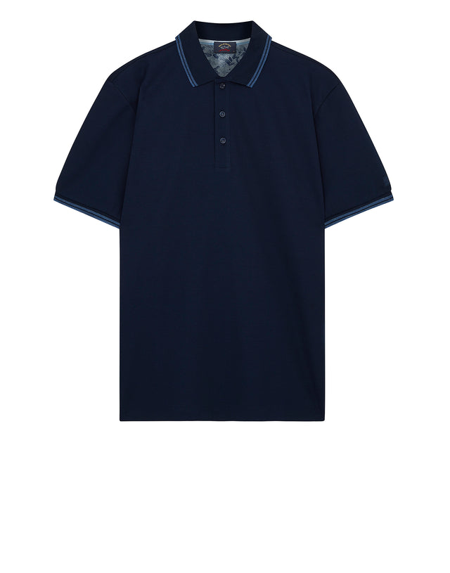 Knitted Polo Shirt in Blue