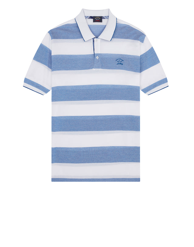 Stripe Polo Shirt With Chest Patch in Cadet Blue
