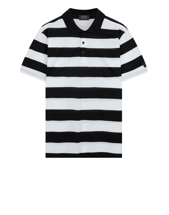 Short Sleeve Stripe Polo Shirt in Black/White