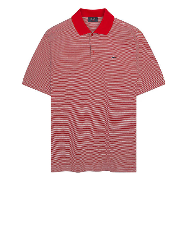 Heritage Shark Stripe Polo Shirt in Red/White