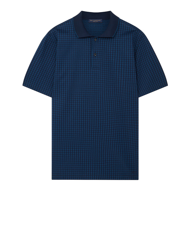 Diamond Pattern Shark Polo Shirt in Navy