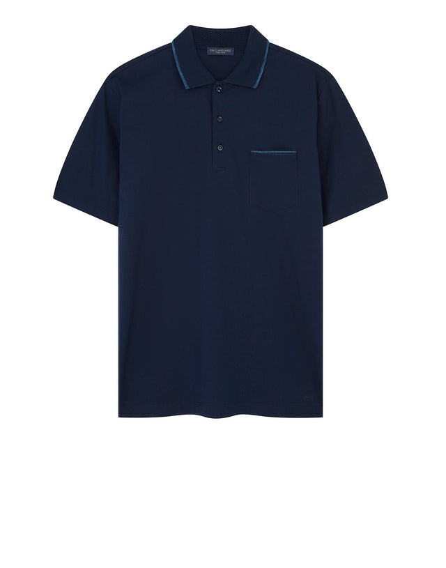 Single Pocket Polo Shirt in Blue