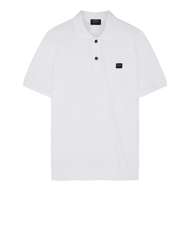 Flag Collar Yachting Polo Shirt in White