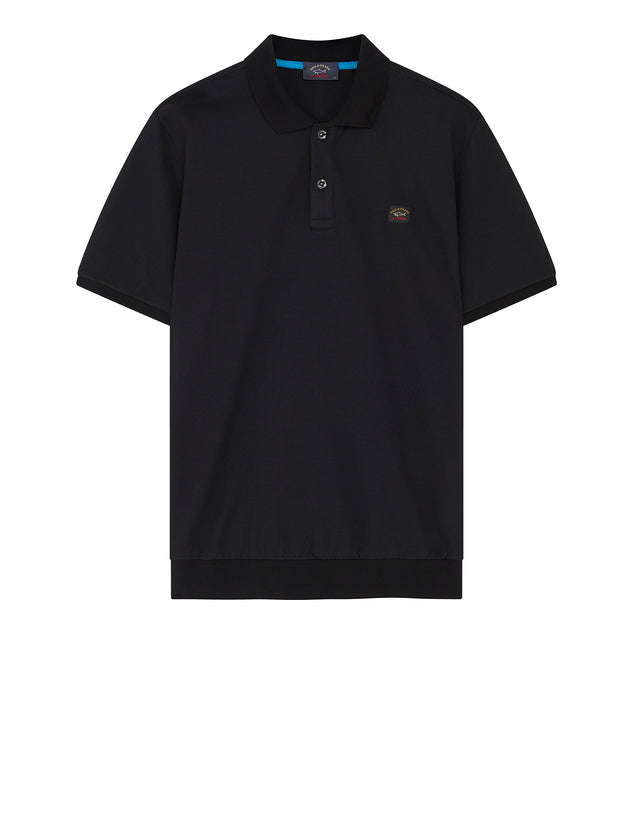 Flag Collar Yachting Polo Shirt in Black