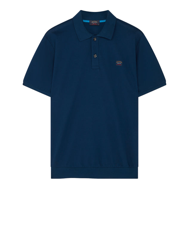 Flag Collar Yachting Polo Shirt in Cadet Blue