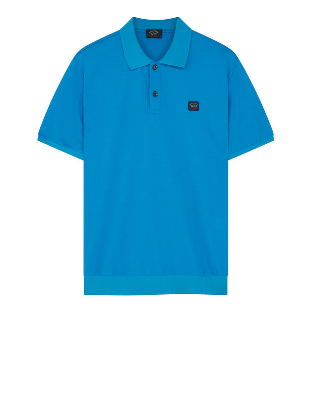 Flag Collar Yachting Polo Shirt in Light Blue