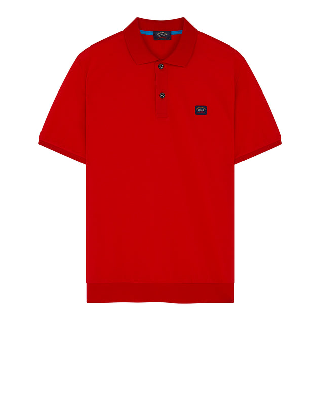Flag Collar Yachting Polo Shirt in Red
