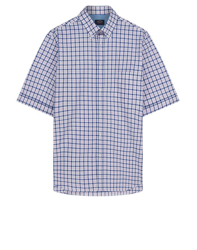 Button-Down Short Sleeve Check Shirt Blue