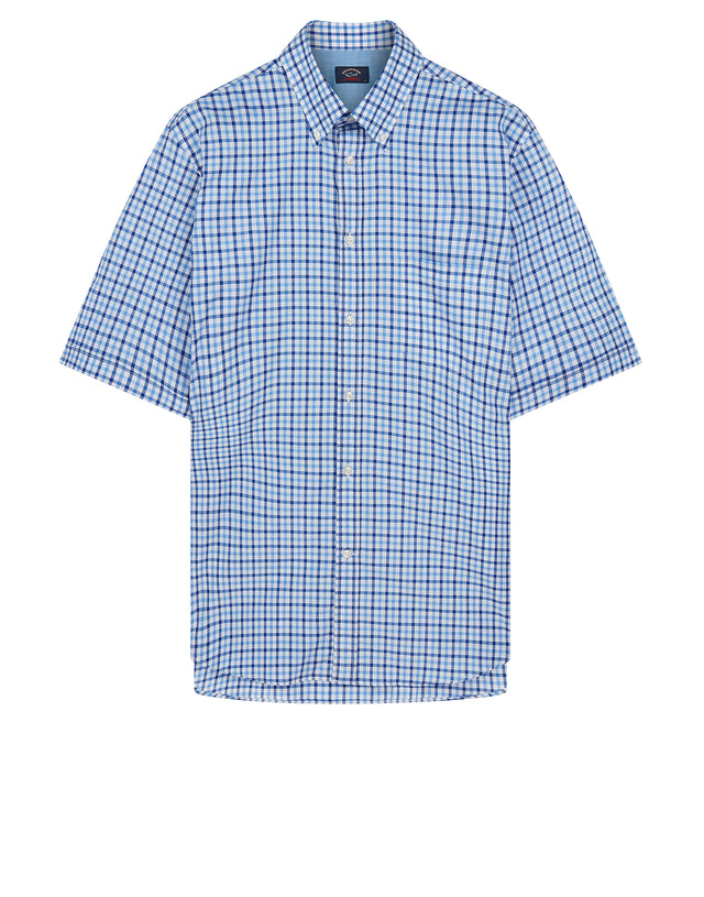 Button-Down Short Sleeve Check Shirt in Blue
