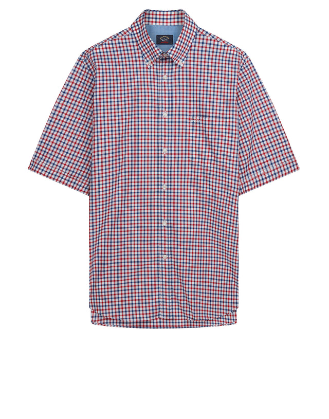 Button-Down Short Sleeve Check Shirt in Red