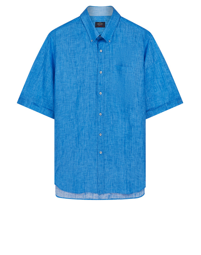 Button-Down Short Sleeve Shirt in Turquoise