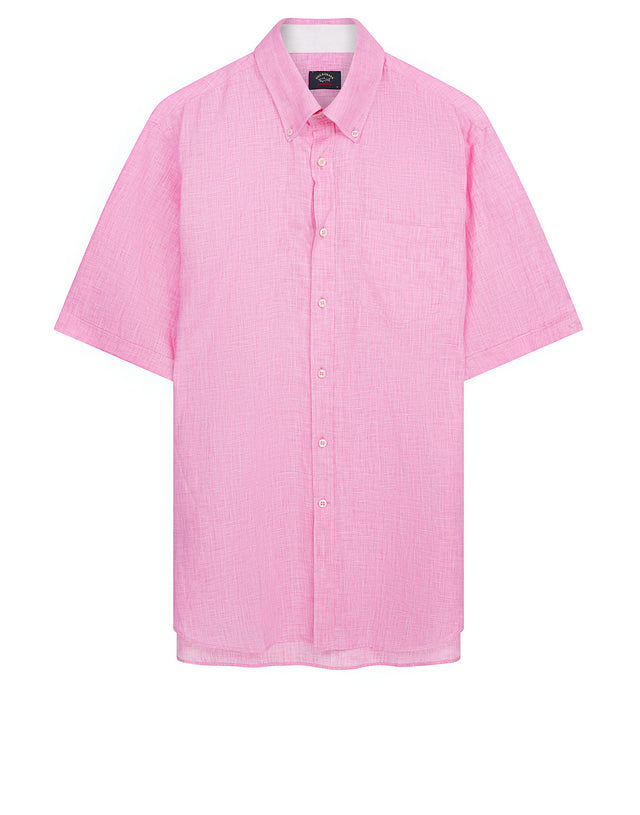 Button-Down Short Sleeve Shirt in Pink