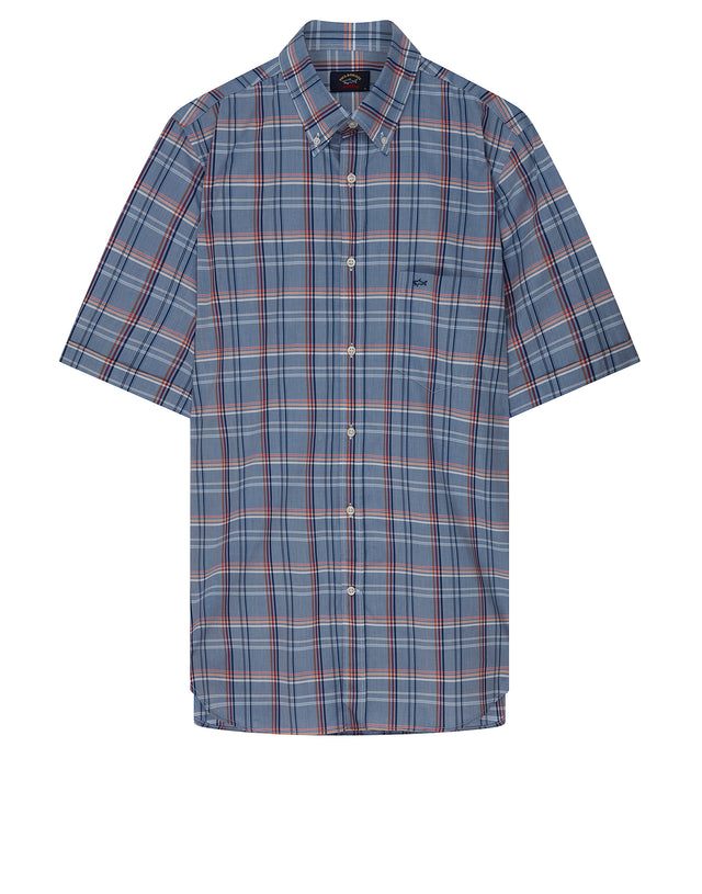 Madras Check Button Down Short Sleeve Shirt in Light Blue