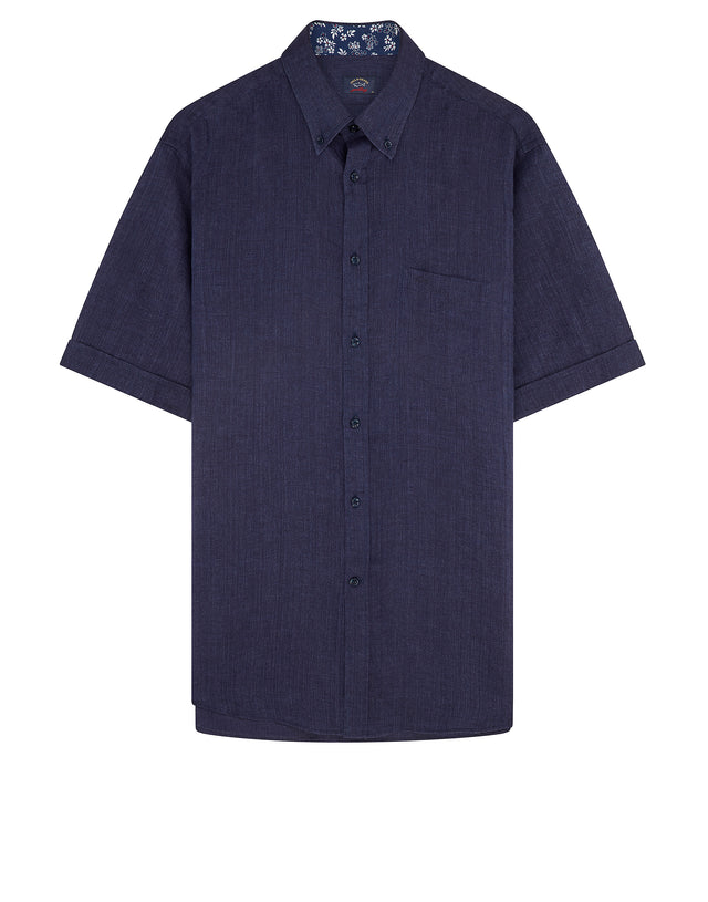 Button-Down Short Sleeve Logo Shirt in Blue