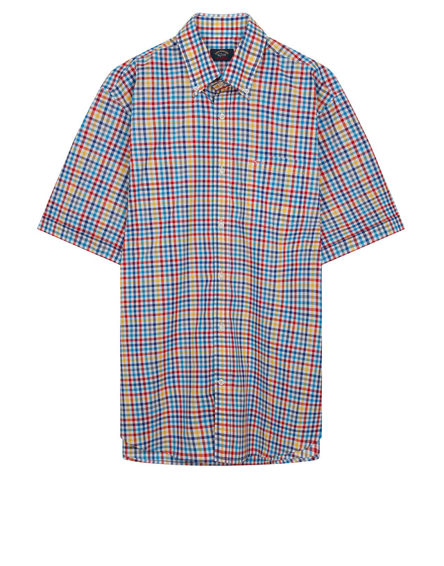 Button-Down Multi Check Shirt in Blue