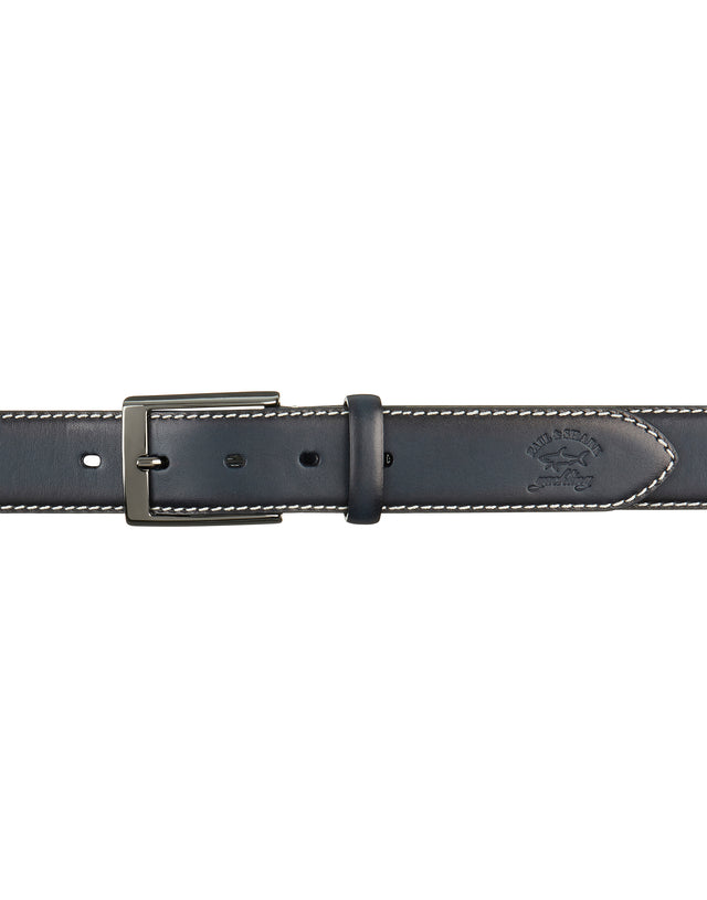 Leather Belt with Stitched Trim in Blue