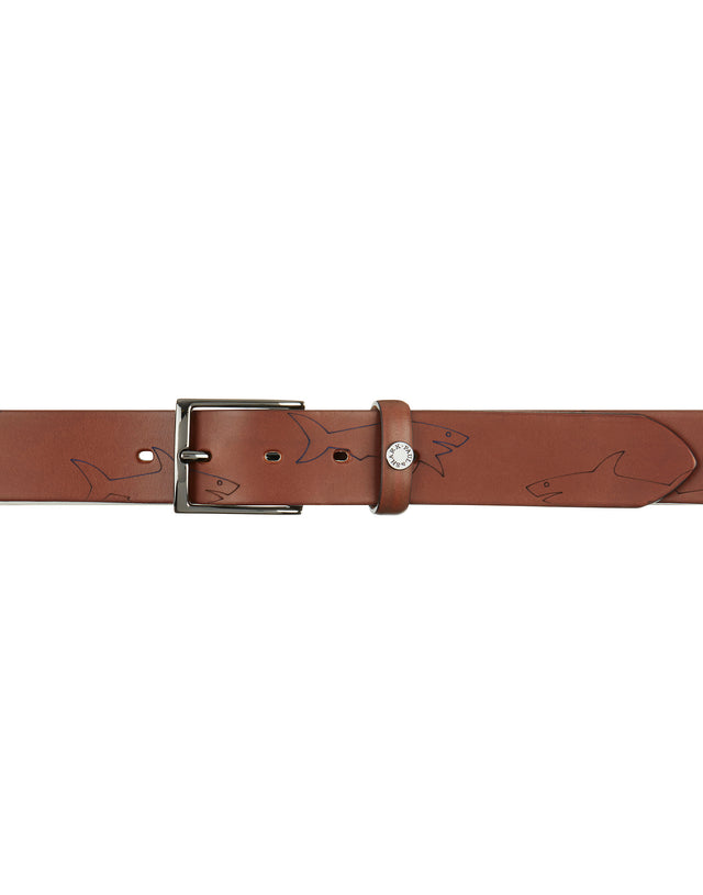 Leather Shark Embossed Belt in Brown